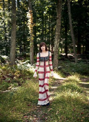 Dakota Johnson for US Vogue February 2017 - by Patrick Demarchelier striped and lace dress