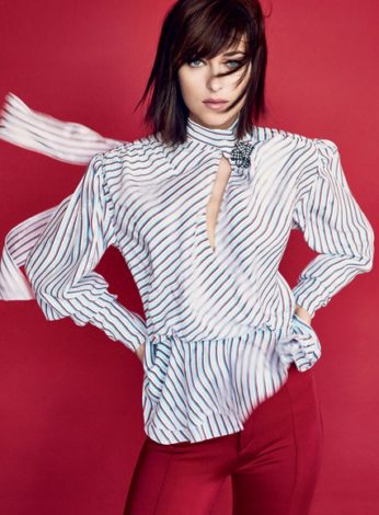 Dakota Johnson for US Vogue February 2017 - by Patrick Demarchelier striped shirt