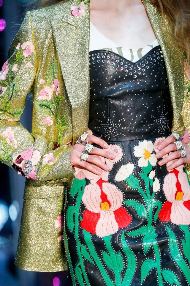 Gucci Autumn:Winter 2017 Ready-to-wear Details leather floral skirt