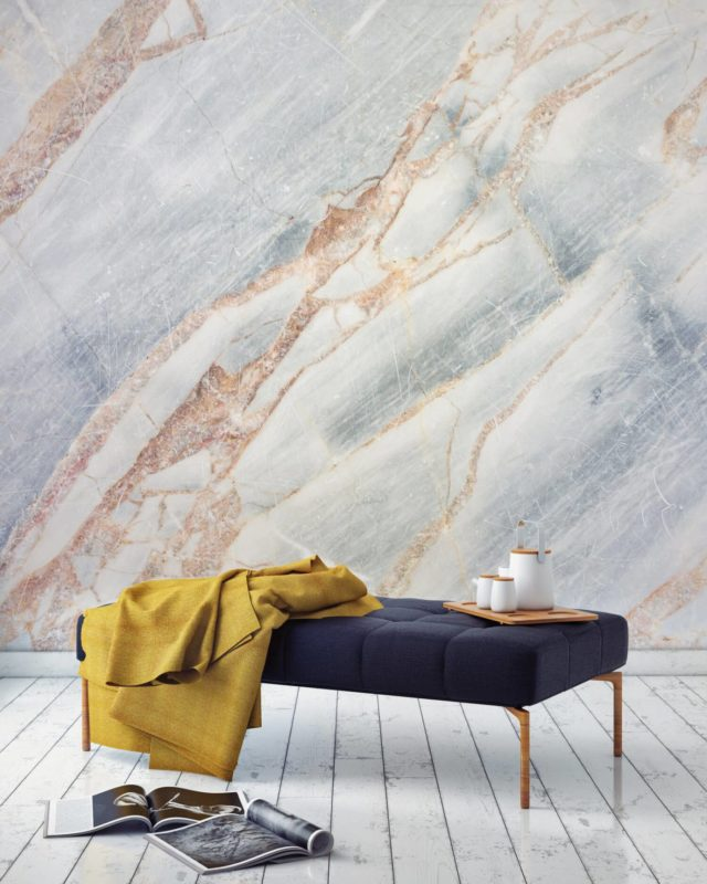 Luxe for Less- Marble Wallpaper for your home blue and rose gold