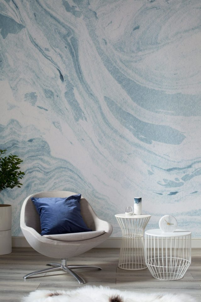 Luxe for Less- Marble Wallpaper for your home blue and white walls