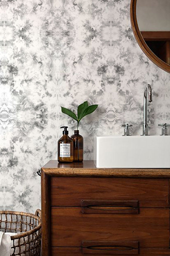 Luxe for Less- Marble Wallpaper for your home gray bathroom