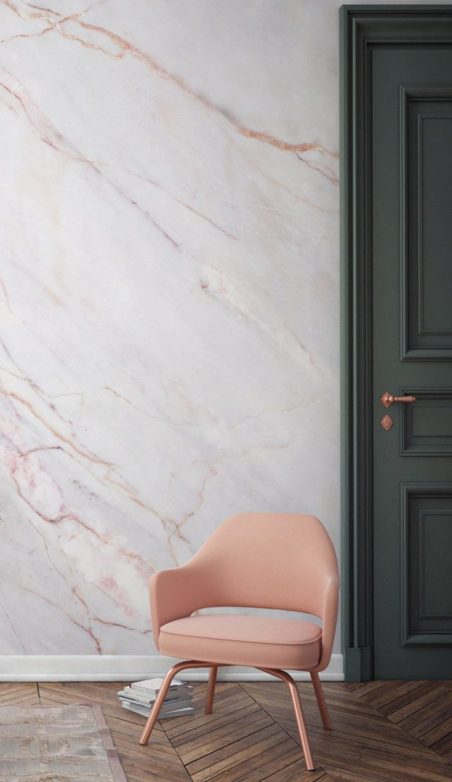 Luxe for Less- Marble Wallpaper for your home pink and white wall