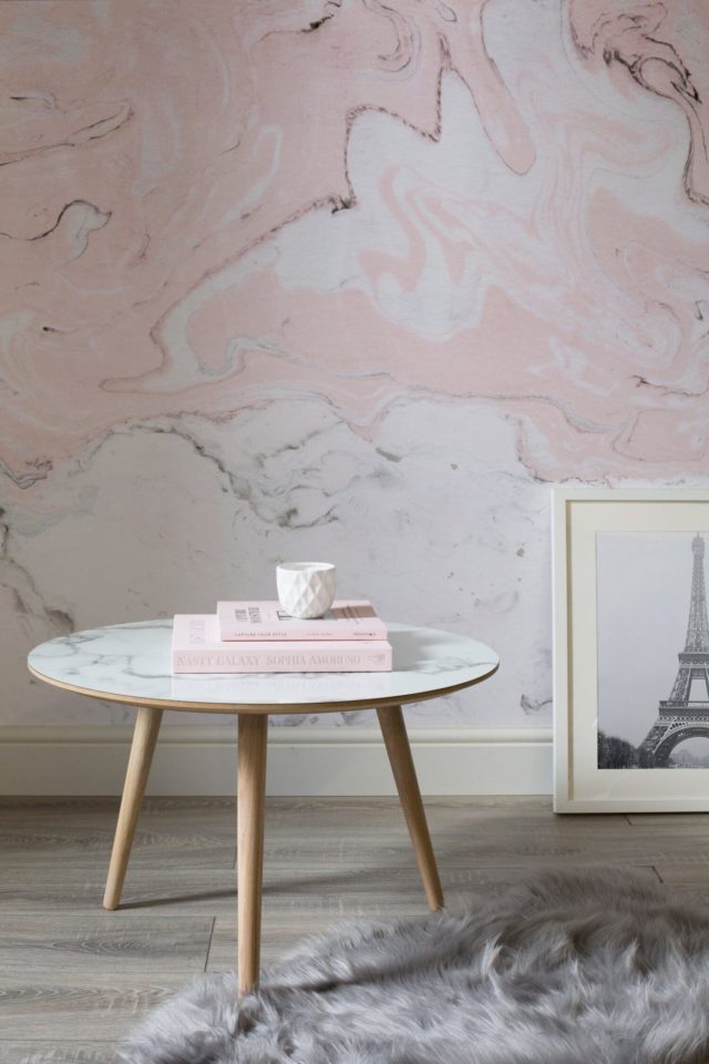 Luxe for Less- Marble Wallpaper for your home pink and white walls