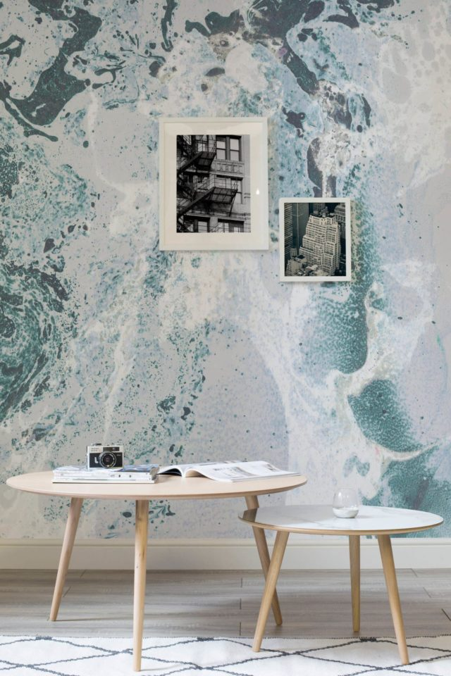 Luxe for Less- Marble Wallpaper for your home teal blue and white