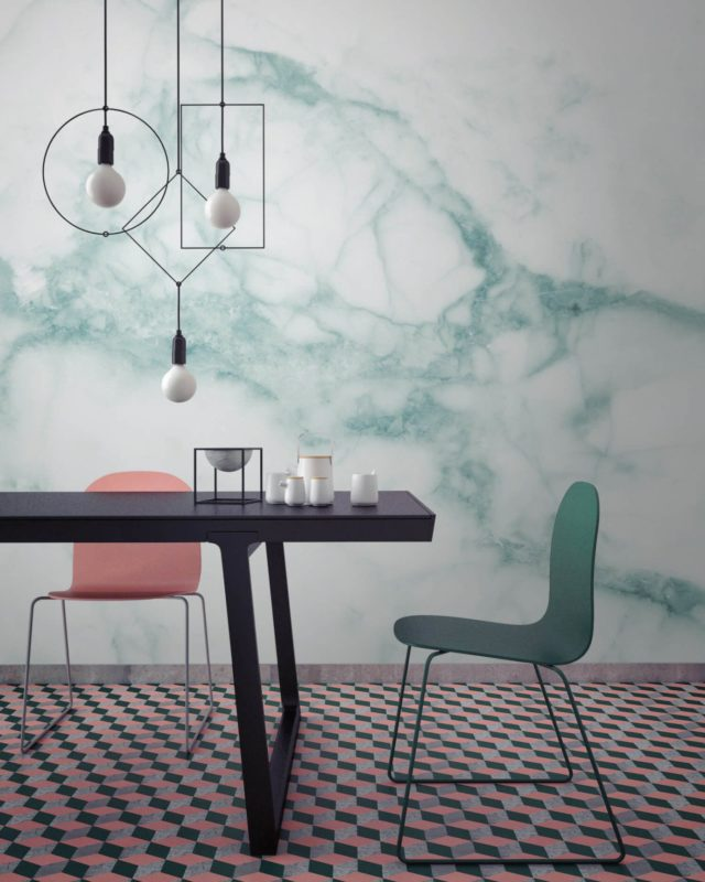 Luxe for Less- Marble Wallpaper for your home white and green