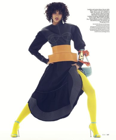 Melodie Vaxelaire for US ELLE FEBRUARY 2017 black Loewe dress