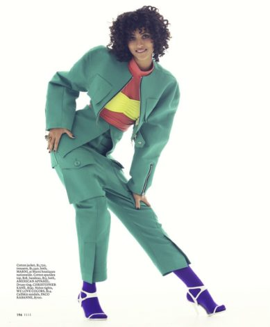Melodie Vaxelaire for US ELLE FEBRUARY 2017 green Marni coat