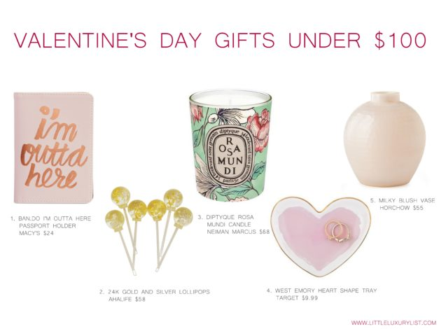 Valentine's Day gifts under $100 collage by little luxury list
