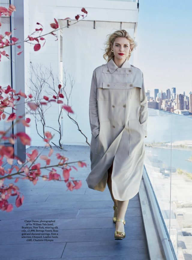 Claire Danes for UK HARPER'S BAZAAR FEBRUARY 2017 in Bottega Veneta coat