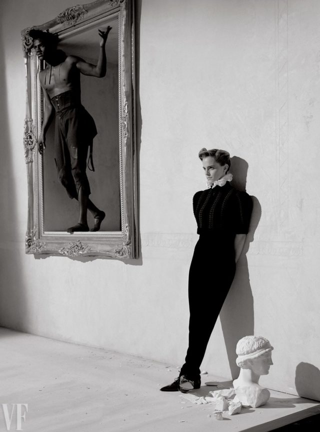 Emma Watson by Tim Walker for Vanity Fair March 2017 black outfit