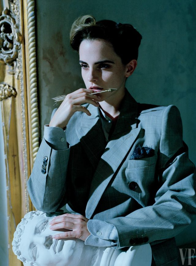 Emma Watson by Tim Walker for Vanity Fair March 2017 gray blazer