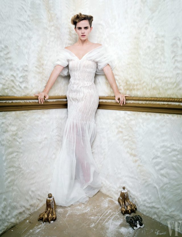 Emma Watson by Tim Walker for Vanity Fair March 2017 white off the shoulder gown