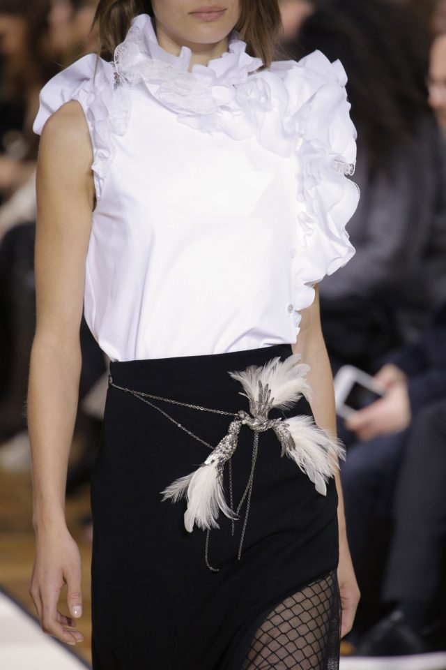Lanvin Autumn:Winter 2017 details bird feather belts