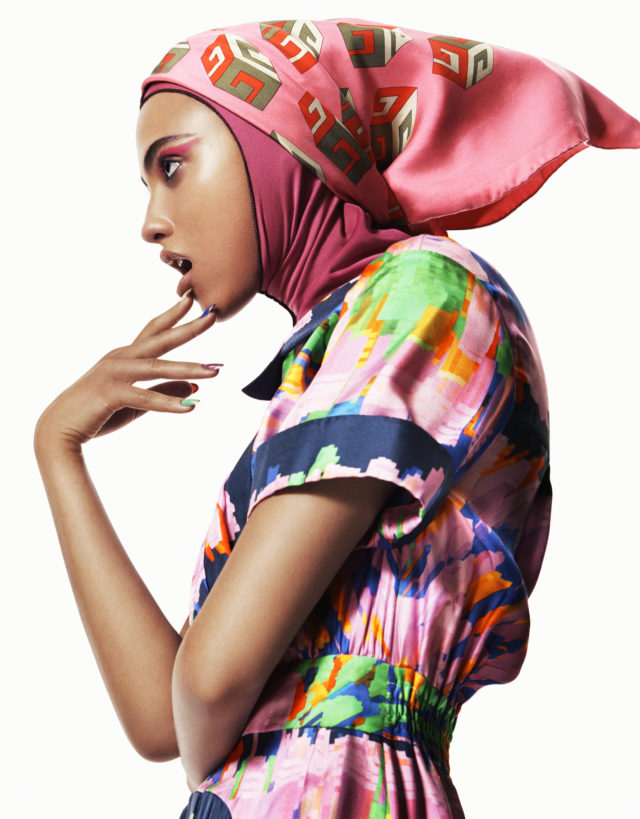 Melodie Vaxelaire for Vogue Arabia March 2017 pink scarf and graphic dress