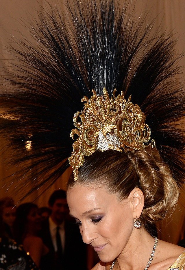 """PUNK: Chaos To Couture"" Costume Institute Gala Sarah Jessica Parker wearing famous Philip Treacy hat"