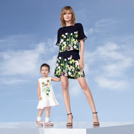 Victoria Beckham for Target Toddler pressed floral satin ruffle dress and pressed satin floral top with ruffled sleeves and skirt