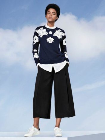 Victoria Beckham for Target applique lace topo and black pleated culottes