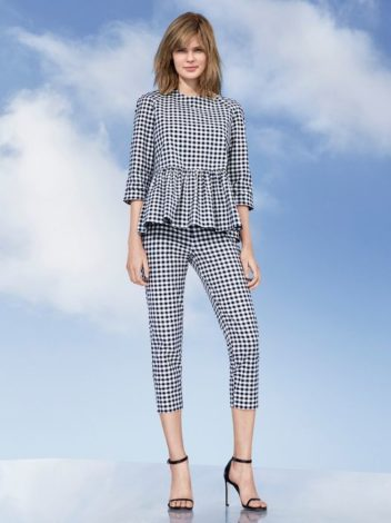 Victoria Beckham for Target blue and white gingham peplum blouse and pants
