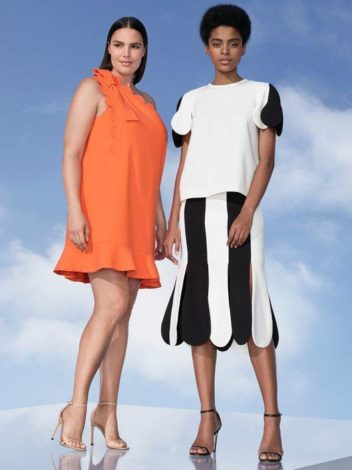 Victoria Beckham for Target orange one sleeved dress and black white scallop sleeve top