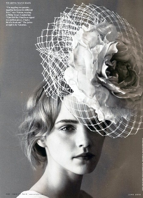 emma-watson-rose and tulle Famous Philip Treacy hats