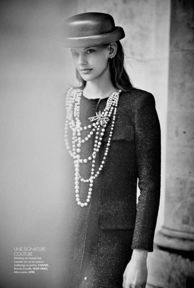 Amanda Murphy Elle France September 2016 Chanel black coat