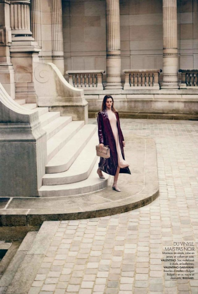 Amanda Murphy Elle France September 2016 Valentino dress and coat