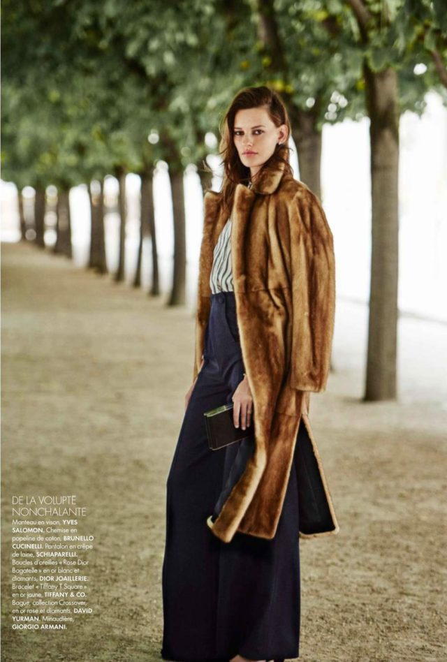 Amanda Murphy Elle France September 2016 Yves Salomon coat