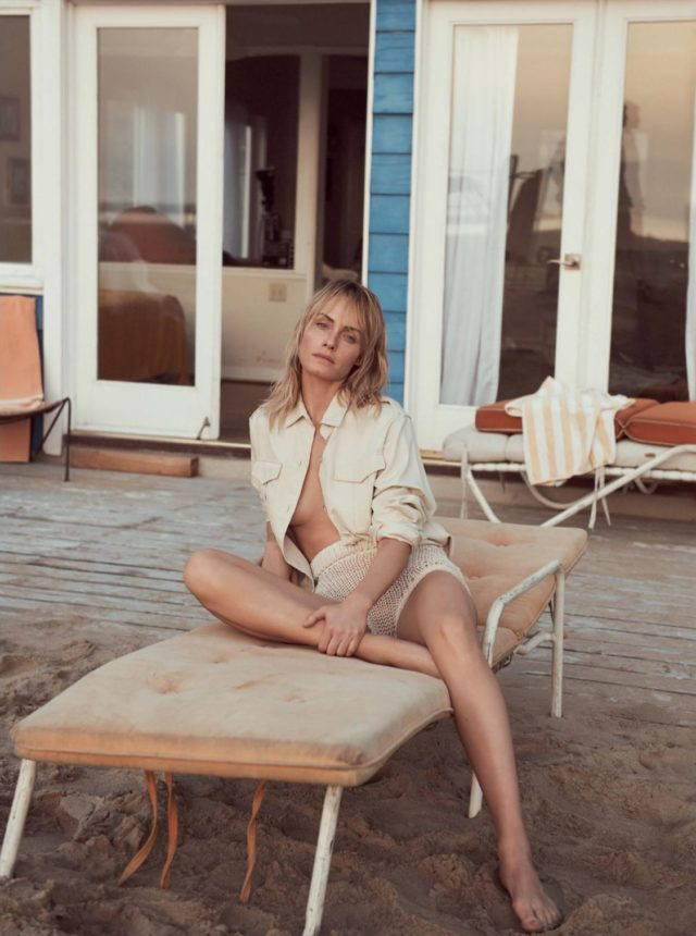 Amber Valetta in UK Vogue May 2017 beige outfit