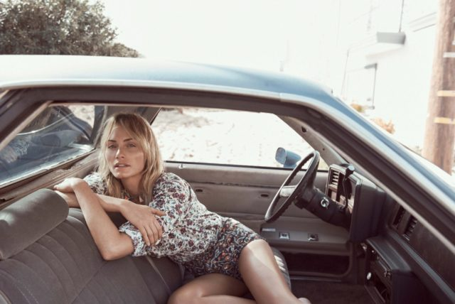 Amber Valetta in UK Vogue May 2017 floral top