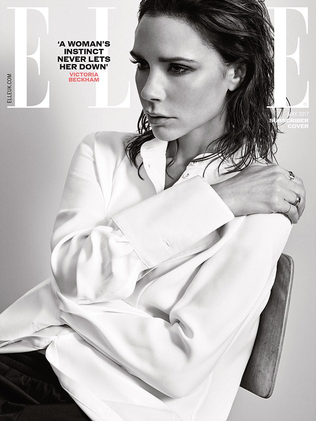 Victoria beckham for UK Elle May 2017 white shirt and pants
