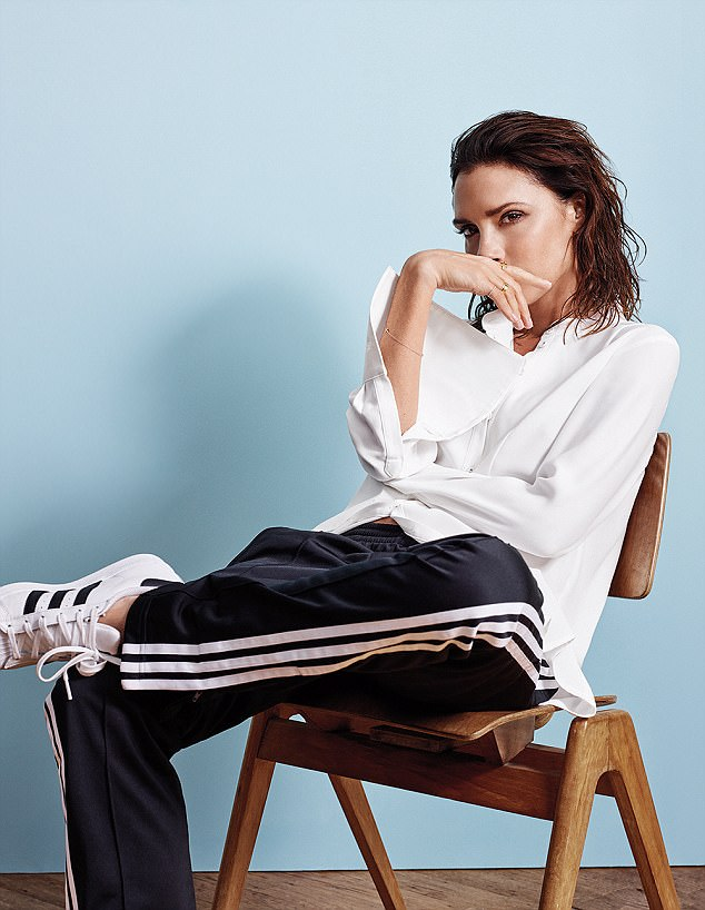 Victoria beckham for UK Elle May 2017 white shirt and track pants