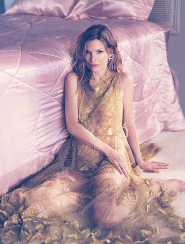 MICHELLE PFEIFFER BY MIKAEL JANSSON for Interview April 2017 in gold lace dress