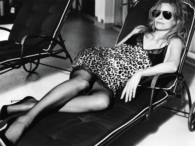 MICHELLE PFEIFFER BY MIKAEL JANSSON for Interview April 2017 on lounge chair