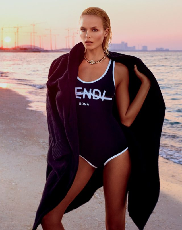 Natasha Poly by Txema Yeste for Vogue Russia June 2017 Fendi swimsuit