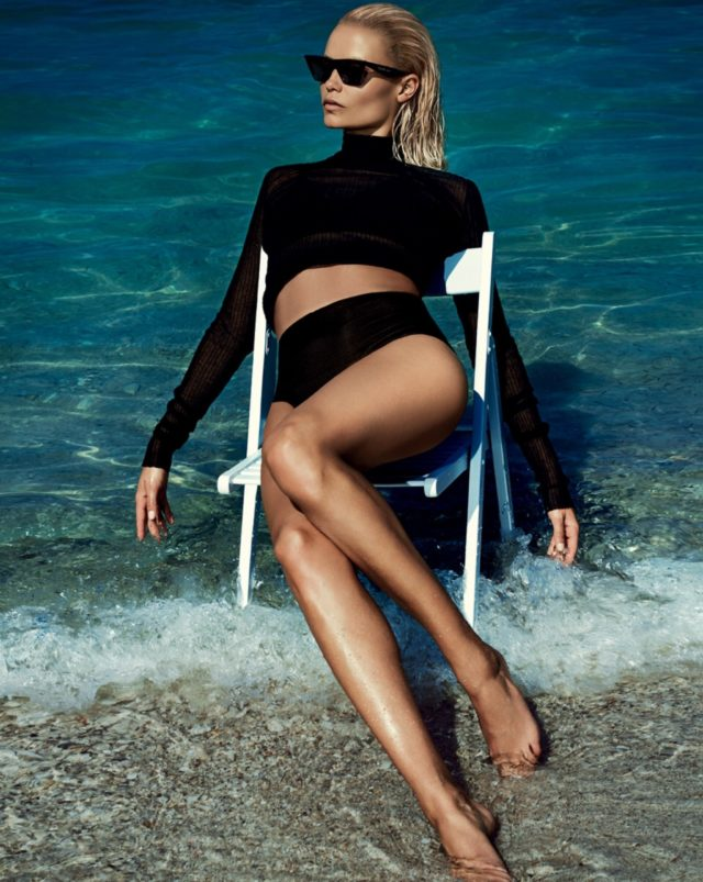 Natasha Poly by Txema Yeste for Vogue Russia June 2017 black outfit