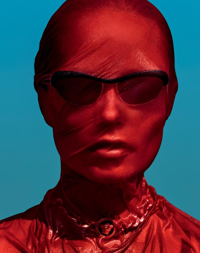 Natasha Poly by Txema Yeste for Vogue Russia June 2017 red veil