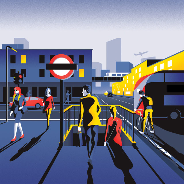 Colorful-London-Illustrations-by-Jack-Dally-outside-tube-stop