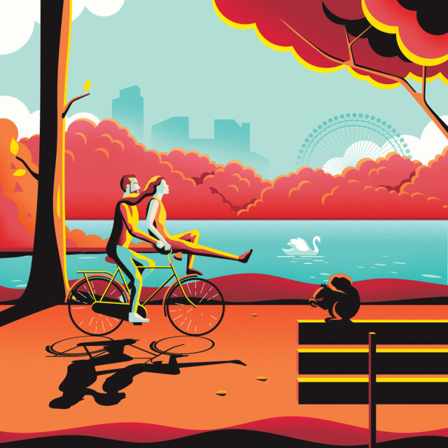 Colorful-London-illustrations-by-Jack-Dally-cycling-by-London-Eye