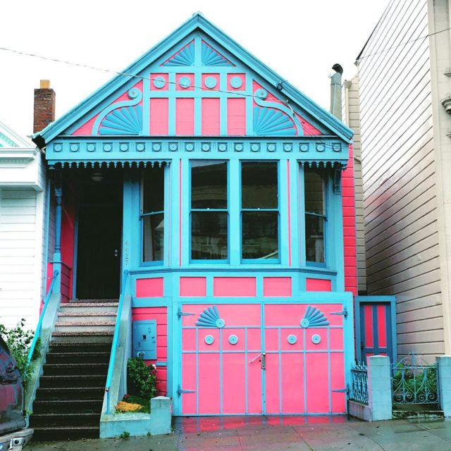 Colorful houses in San Francisco by patrix15 - blue and pink