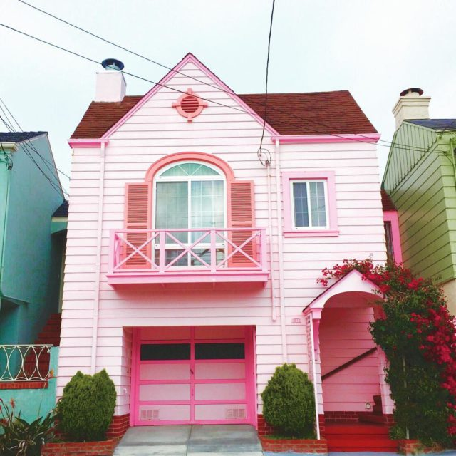 Colorful houses in San Francisco by patrix15 -pink and rose