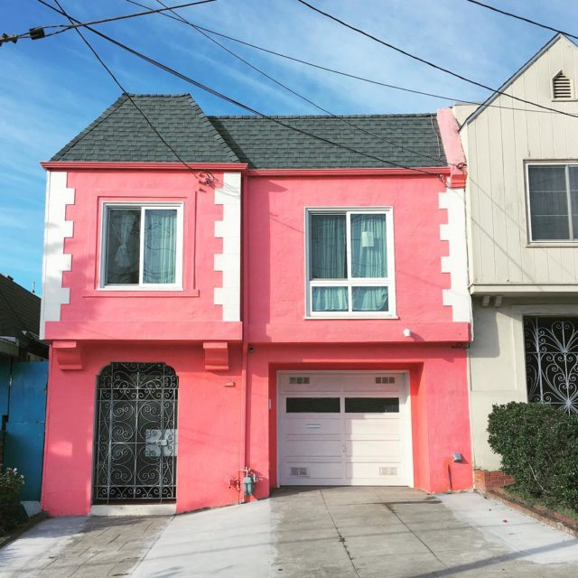 Colorful houses in San Francisco by patrix15 -pink and white