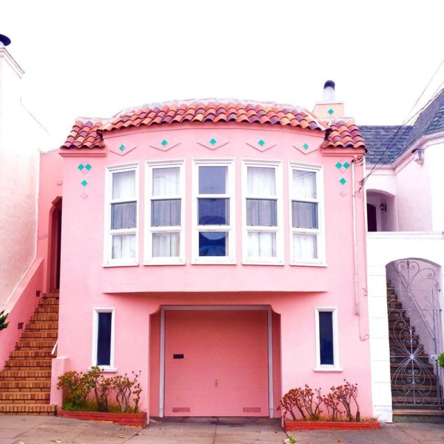 Colorful houses in San Francisco by patrix15 - pink, white and blue
