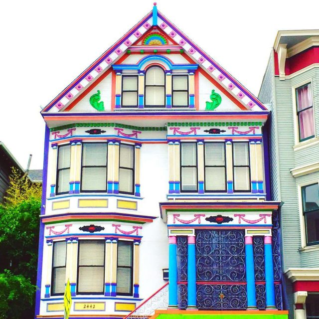 Colorful houses in San Francisco by patrix15 - white pink and blue
