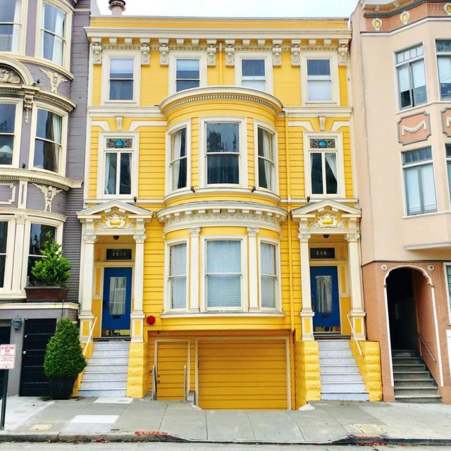 Colorful houses in San Francisco by patrix15 - yellow and white