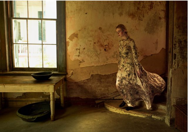 Elle Fanning by Annie Leibovitz for Vogue June 2017 Valentino haute couture dress