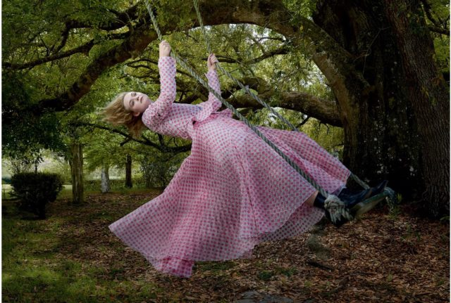 Elle Fanning by Annie Leibovitz for Vogue June 2017 pink outfit