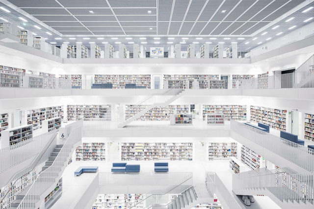 Europe's Most Enchanting Libraries by Photographer Thibaud Poirier Stadtbibliothek Stuttgart