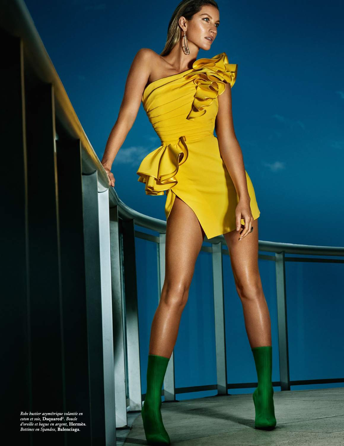 GISELE BÜNDCHEN by Mario Testino for Vogue Paris June July 2017 - yellow dsquared2 dress