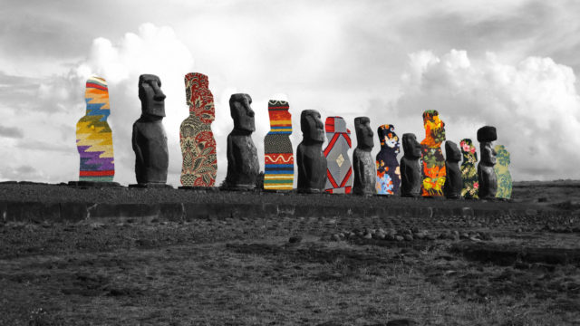 Guy Catling colorful collages totem sculptures